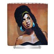 Amy Winehouse Shower Curtain by Paul Meijering