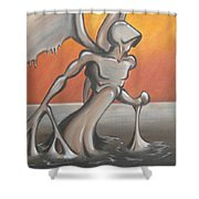 An Angel Out Of Oil Shower Curtain by Jeffrey Oleniacz