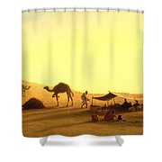 An Arab Encampment  Shower Curtain by Charles Theodore Frere