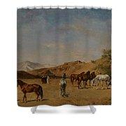 An Arabian Camp Shower Curtain by Eugene Fromentin