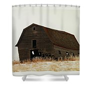 An Old Leaning Barn In North Dakota Shower Curtain by Jeff  Swan