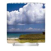 Anakena Beach With Ahu Nau Nau Moai Statues On Easter Island Shower Curtain by David Smith