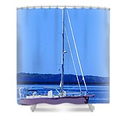 Anchored In The Bay Shower Curtain by Laurie Pike