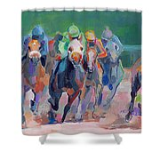 And Down The Stretch They Com Shower Curtain by Kimberly Santini