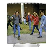 And I Looked Down At My Shoes Shower Curtain by Luis Ludzska