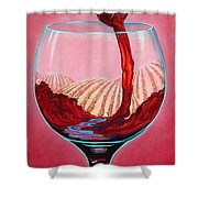 ...and Let There Be Wine Shower Curtain by Sandi Whetzel