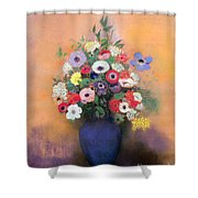 Anemones And Lilac In A Blue Vase Shower Curtain by Odilon Redon