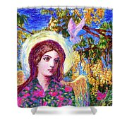Angel Love Shower Curtain by Jane Small