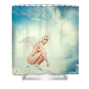 Angel Shower Curtain by Stelios Kleanthous