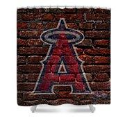 Angels Baseball Graffiti on Brick  Shower Curtain by Movie Poster Prints