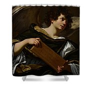 Angels With Attributes Of The Passion Shower Curtain by Simon Vouet
