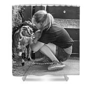 Animal - Goat - A Girl And Her Goat Shower Curtain by Mike Savad