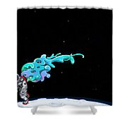 Animated Space Man Shower Curtain by Gianfranco Weiss