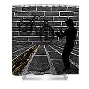 Another Bike On The Wall Shower Curtain by Barbara St Jean