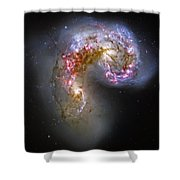 Antennae Galaxies Collide 1 Shower Curtain by The  Vault - Jennifer Rondinelli Reilly