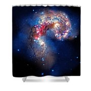 Antennae Galaxies Collide 2 Shower Curtain by Jennifer Rondinelli Reilly - Fine Art Photography