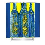 Antibes Blue Bottles Shower Curtain by Ben and Raisa Gertsberg