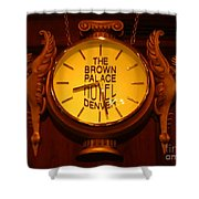 Antique Clock At The Bown Palace Hotel Shower Curtain by John Malone