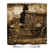 Antique Hearse As Tintype Shower Curtain by Crystal Loppie