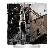 Antique Ironwork Wood And Rustic Walls Shower Curtain by RicardMN Photography