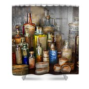Apothecary - For All Your Aches And Pains  Shower Curtain by Mike Savad