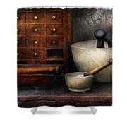 Apothecary - Pestle and Drawers Shower Curtain by Mike Savad