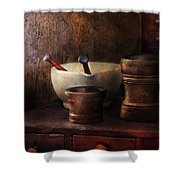 Apothecary - Pick A Pestle  Shower Curtain by Mike Savad