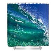 Aqua Blade Shower Curtain by Sean Davey