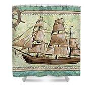 Aqua Maritime 1 Shower Curtain by Debbie DeWitt