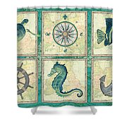 Aqua Maritime Patch Shower Curtain by Debbie DeWitt
