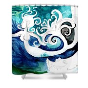 Aqua Mermaid Shower Curtain by Genevieve Esson