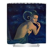 Aries From Zodiac Series Shower Curtain by Dorina  Costras