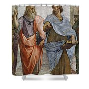 Aristotle And Plato Detail Of School Of Athens Shower Curtain by Raffaello Sanzio of Urbino