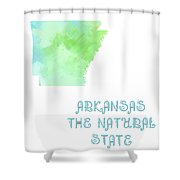 Arkansas - The Natural State - Map - State Phrase - Geology Shower Curtain by Andee Design