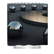 Around Circles Shower Curtain by Richard Rizzo