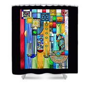 Art Deco Stained Glass 1 Shower Curtain by Ellen Henneke