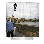 Artist On The Charles Bridge - Prague Shower Curtain by Madeline Ellis
