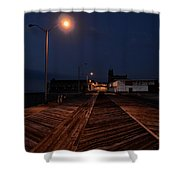 Asbury Park Boardwalk At Night Shower Curtain by Bill Cannon