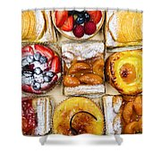 Assorted Tarts And Pastries Shower Curtain by Elena Elisseeva