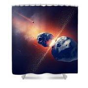 Asteroids Collide And Explode  In Space Shower Curtain by Johan Swanepoel