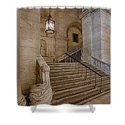Astor Hall Nypl Shower Curtain by Susan Candelario