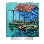 At Boat House Shower Curtain by Xueling Zou