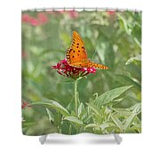 At Rest - Gulf Fritillary Butterfly Shower Curtain by Kim Hojnacki