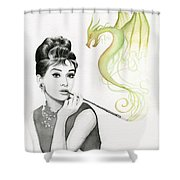 Audrey And Her Magic Dragon Shower Curtain by Olga Shvartsur