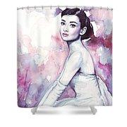 Audrey Hepburn Purple Watercolor Portrait Shower Curtain by Olga Shvartsur