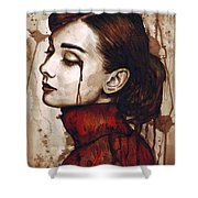 Audrey Hepburn - Quiet Sadness Shower Curtain by Olga Shvartsur