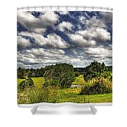 Australian Countryside - Floating Clouds Collage Shower Curtain by Kaye Menner