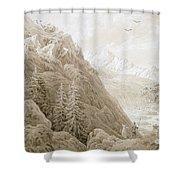 Autumn Shower Curtain by Caspar David Friedrich