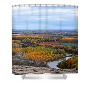 Autumn Colors On The Ebro River Shower Curtain by RicardMN Photography
