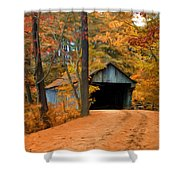 Autumn Covered Bridge Shower Curtain by Joann Vitali